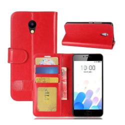 Meizu M5c Stilrent fodral med inbyggd plånbok - Röd
