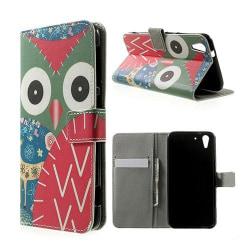 Moberg HTC Desire Eye Läder Flip Fodral - Blommig Uggla