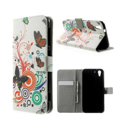 Moberg HTC Desire Eye Läder Flip Fodral - Fjärilar och Cirkl