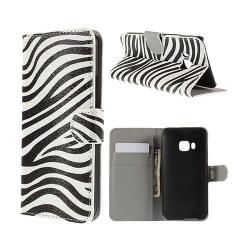 Moberg HTC One M9 Läder Fodral med Korthållare - Zebra Rände