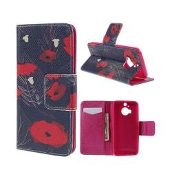 Moberg HTC One M9 Plus Fodral med Plånbok - Röda Blommor
