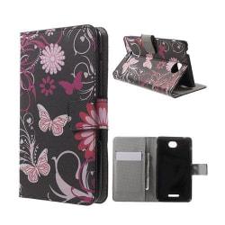 Moberg Sony Xperia E4 Fodral Med Plånbok - Fjäril & blommama