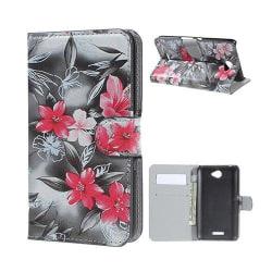 Moberg Sony Xperia E4 Fodral med Plånbok - Röd Blommade Blom