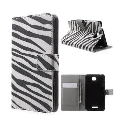 Moberg Sony Xperia E4 Fodral Med Plånbok - Zebra Ränder