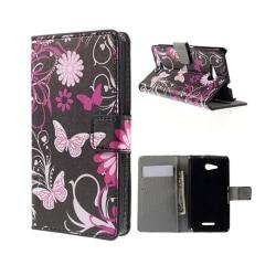 Moberg Sony Xperia E4G med Plånbok - Rosa Fjärilar & Blommor