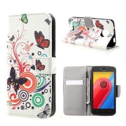Motorola Moto C Fodral med unikt motiv - Fjärilar och cirkla