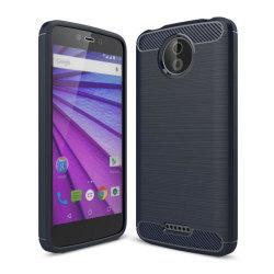 Motorola Moto C Karbon fiber designat skal - Blå
