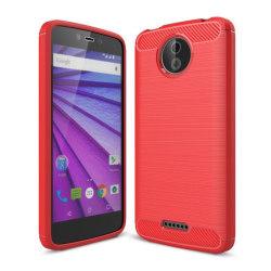 Motorola Moto C Karbon fiber designat skal - Röd