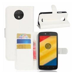 Motorola Moto C Plus Vikbart skinn fodral - Vit