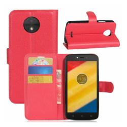 Motorola Moto C Vikbart läder fodral - Röd