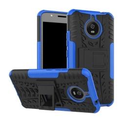 Motorola Moto E4 Plus Däck mönstrat skal med kickstand - Blå
