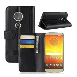 Motorola Moto E5 mobilskal genuin läder stående plånbok - Sv