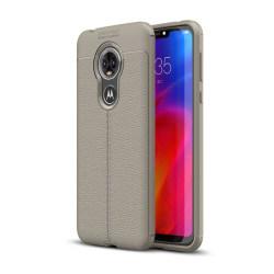 Motorola Moto E6 litchi mjukt fodral - Grå