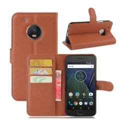 Motorola Moto G5 Plus litchi textur läderfodral - Brun