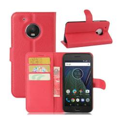 Motorola Moto G5 Plus litchi textur läderfodral - Röd