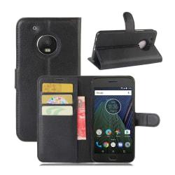 Motorola Moto G5 Plus litchi textur läderfodral - Svart