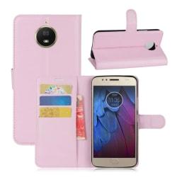 Motorola Moto G5S Enfärgat fodral med plånbok - Ljus rosa