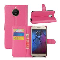 Motorola Moto G5S Enfärgat fodral med plånbok - Rosa