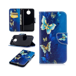 Motorola Moto G5S Fodral med modernt motiv - Blå fjärilar