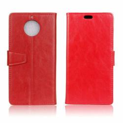 Motorola Moto G5S Läder fodral med plånbok - Röd
