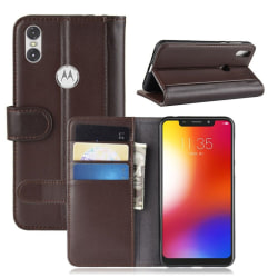 Motorola One stand wallet split leather case - Brown