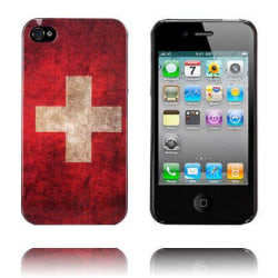 National Flag - Svart Kant (Schweiz) iPhone 4/4S Skal