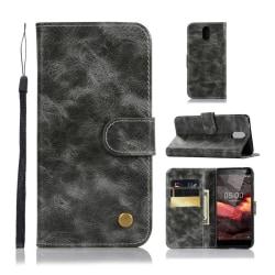 Nokia 3.1 mobilfodral syntetläder silikon plånbok stående. -