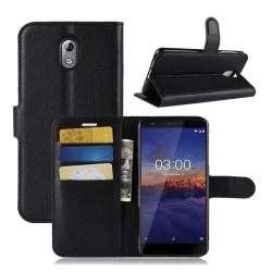 Nokia 3.1 mobilfodral syntetläder silikon plånbok stående -