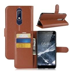 Nokia 5.1 mobilfodral konstläder silikon plånbok stående - B