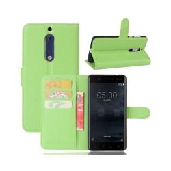 Nokia 5 Enfärgat skinn fodral - Grön