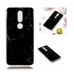 Nokia 7.1 flexibelt silikonplast mobilskydd med IMD marmor m