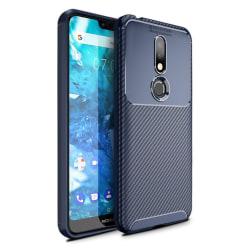 Nokia 7.1 kolfiber borstat silikonplast mobilskal - Blå