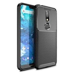 Nokia 7.1 kolfiber borstat silikonplast mobilskal - Svart