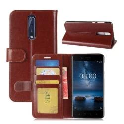 Nokia 8 Äkta läder fodral - Brun
