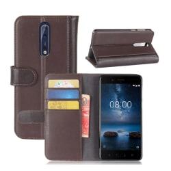Nokia 8 Äkta läder fodral - Kaffe