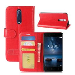 Nokia 8 Äkta läder fodral - Röd