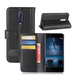 Nokia 8 Äkta läder fodral- Svart