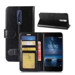 Nokia 8 Äkta läder fodral - Svart