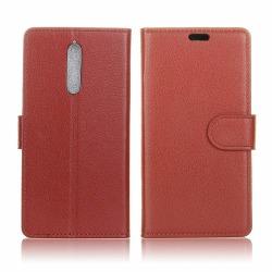 Nokia 8 Enfärgat Fodral med magnet lås - Brun