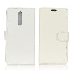Nokia 8 Enfärgat Fodral med magnet lås - Vit