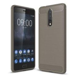 Nokia 8 Silkon skal med kolfiber design - Grå