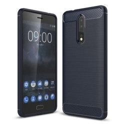 Nokia 8 Silkon skal med kolfiber design - Mörk blå