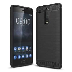 Nokia 8 Silkon skal med kolfiber design - Svart