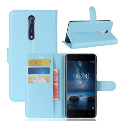 Nokia 8 Skinn fodral med plånbok - Blå