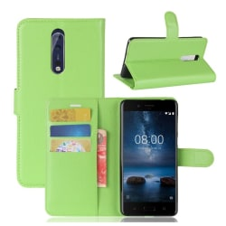 Nokia 8 Skinn fodral med plånbok - Grön