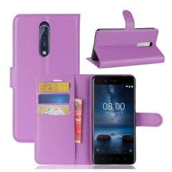 Nokia 8 Skinn fodral med plånbok - Lila