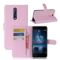 Nokia 8 Skinn fodral med plånbok - Ljus rosa