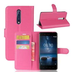 Nokia 8 Skinn fodral med plånbok - Rosa