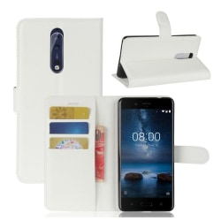 Nokia 8 Skinn fodral med plånbok - Vit