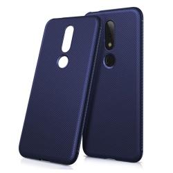 Nokia X6 (2018) mobilskal TPU twill textur - Blå